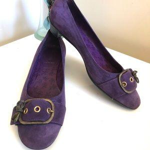 MIU MIU Purple Suede Leather Flats Sz 7 37